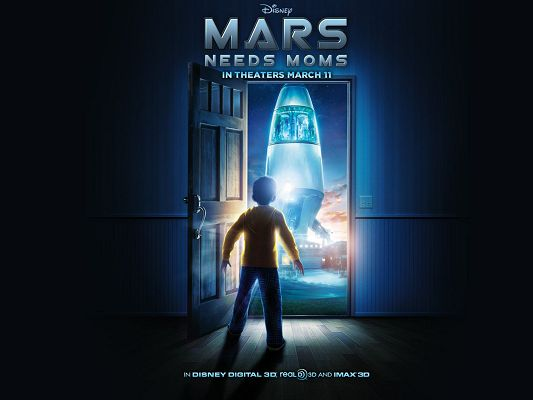 click to free download the wallpaper--2011 Mars Need Moms Post in 1600x1200 Pixel, Is It the First Time the Boy is Seeing the Rocket? He is Excited - TV & Movies Post