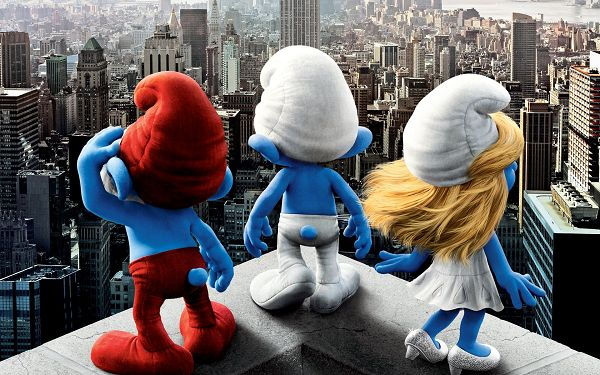 click to free download the wallpaper--2011 Smurfs Movie Post in 1920x1200 Pixel, You Miss the Cute and Naughty Guys, Don't You? Movie is in 3D Style - TV & Movies Post