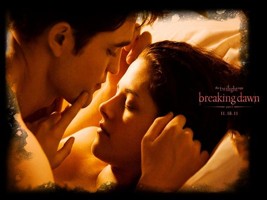 2011 Twilight Saga Breaking Dawn Post in 1600x1200 Pixel, Edward is About to Kiss Bella, a Romantic and Cozy Scene - TV & Movies Post