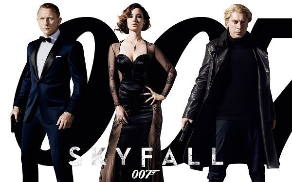click to free download the wallpaper--2012 Bond Movie Skyfall in High Quality and Pixel, The Three Are Indeed Impressive Standing Together, a Great Fit for Your Device - TV & Movies Wallpaper