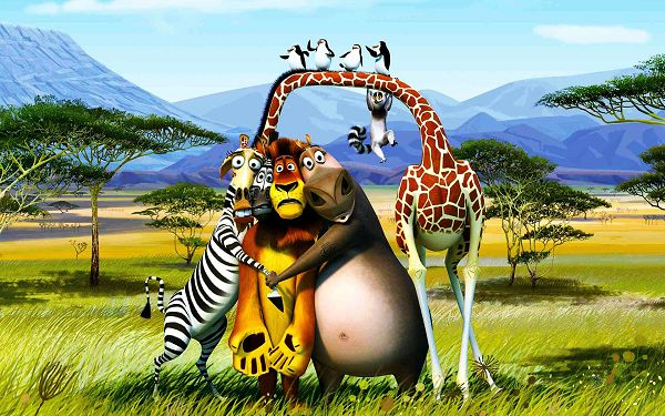 click to free download the wallpaper--2012 Madagascar 3 in 1920x1200 Pixel, All Animals Scared to Hold Each Other, Colorful and Fit for Various Devices - TV & Movies Wallpaper