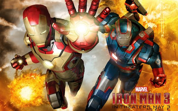 click to free download the wallpaper--2013 3D Movies Poster, Iron Man 3, the Tough and Unbeatable Hero
