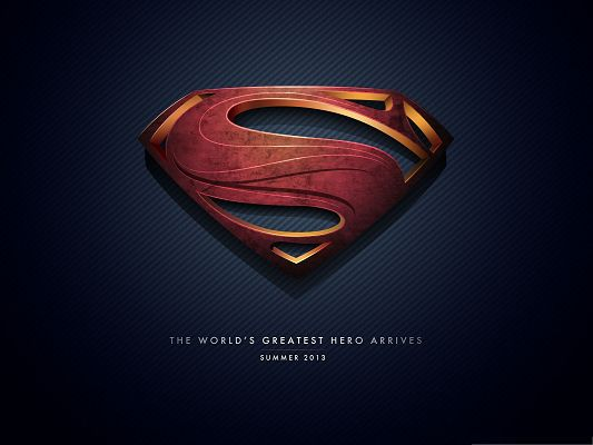 click to free download the wallpaper--2013 Film Poster, Man of Steel Logo, the Super Hero Ready to Fight