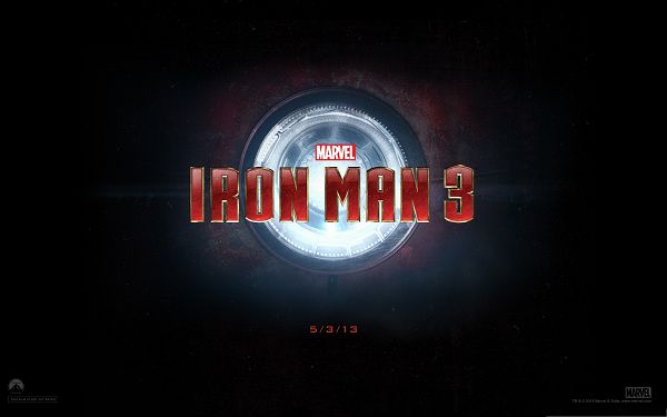 click to free download the wallpaper--2013 Top 3D Movies, Iron Man 3, Shinning Symbol, Much Expected