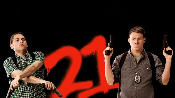 click to free download the wallpaper--21 Jump Street Movie in 1920x1080 Pixel, Both with Toy-Like Guns, They Are Tough to Beat, Watch Your Safety - TV & Movies Wallpaper
