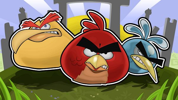 click to free download the wallpaper---3 Angry Birds Are Ready, Send Them to the Pig and Let Them Do Their Job, Be Quick - Angry Brids Cartoon Wallpaper