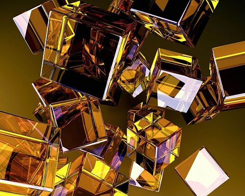 3D Abstract Background, Golden Glass Cubes Falling, Dark Yellow Setting, Shall Strike an Impression