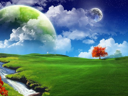 3D Abstract Background, a Red Tree Among Green Grass, the Blue Sky, the Fantasy Land