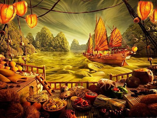 click to free download the wallpaper--3D Backgrounds Computer, Food Art Landscape, Come and Enjoy the Food