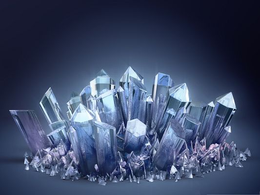 click to free download the wallpaper--3D Backgrounds Computer, Quartz Crystals on Blue Setting, Fit for Various Devices