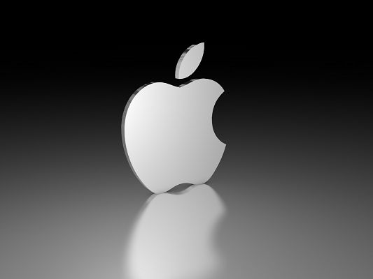 3D Brandy Logos, White Apple Brand on Black to Gray Background, It Knows What to Stress