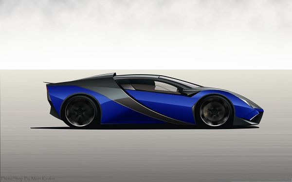 click to free download the wallpaper--3D Cars Wallpaper - Blue Super Ferrari in the Run, Incredible Driving Experience