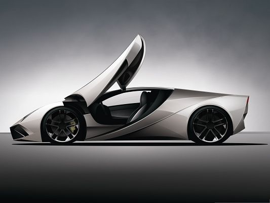 click to free download the wallpaper--3D Cars Wallpaper, Gray Super Car in Stop, Wide Open Doors