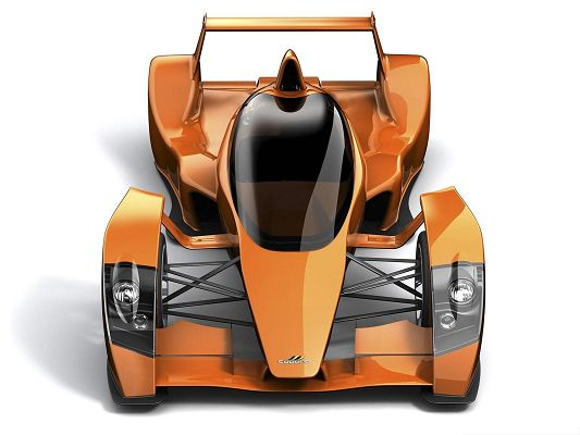 click to free download the wallpaper--3D Cars Wallpaper, Orange Car in Stop, White Background