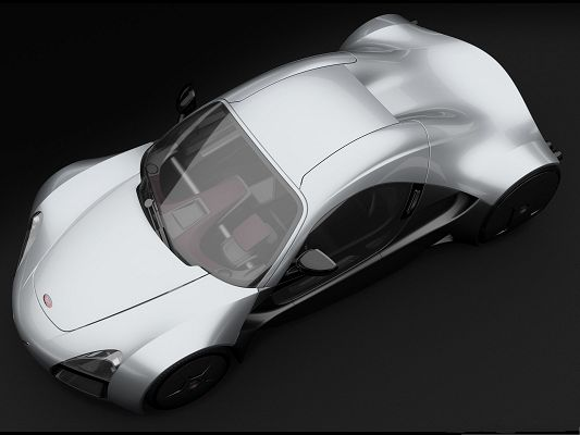3D Cars Wallpaper, Silver Nice Car on Black Background, Incredible Look