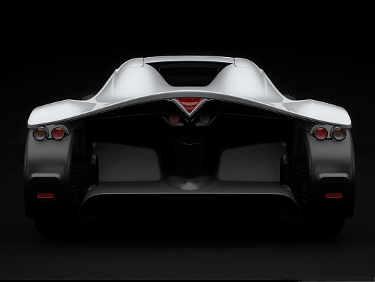 click to free download the wallpaper--3D Cars Wallpaper, Silver Super Car on Black Background, Incredible Look