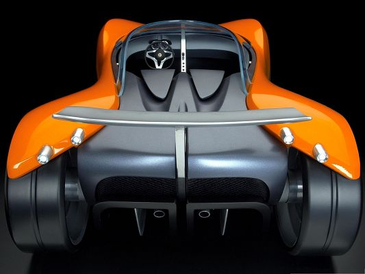 click to free download the wallpaper--3D Cars as Background, Orange Super Car on Black Background, Nice Look