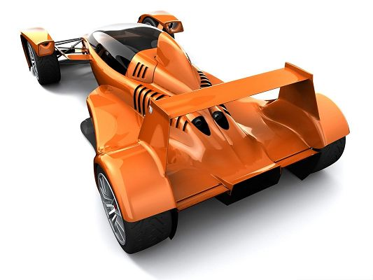 click to free download the wallpaper--3D Cars as Background, Orange Super Car on White Setting, Nice Look