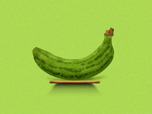 click to free download the wallpaper--3D Computer Background, Green Banana on the Table, Ready to be Enjoyed!