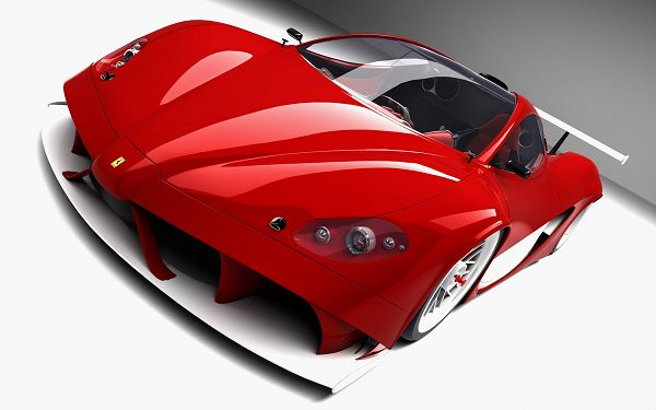click to free download the wallpaper--3D Ferrari Aurea Car, Red Car in the Stop, Put Against White Background