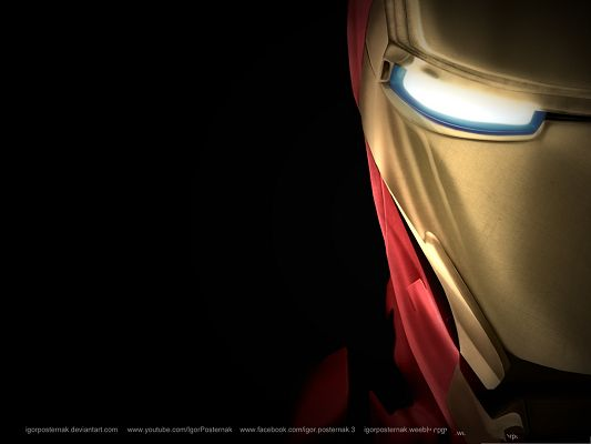 3D Films Poster, Activated Iron Man, on Black Background