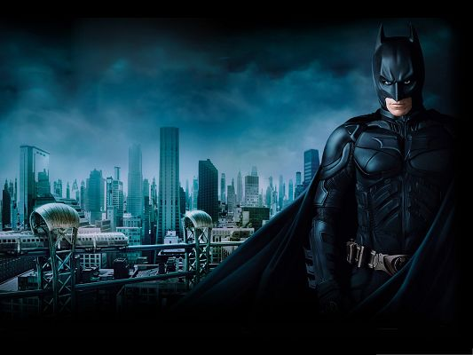 click to free download the wallpaper--3D Free Movie Post, Batman the Great Hero Standing Under the Dark Sky