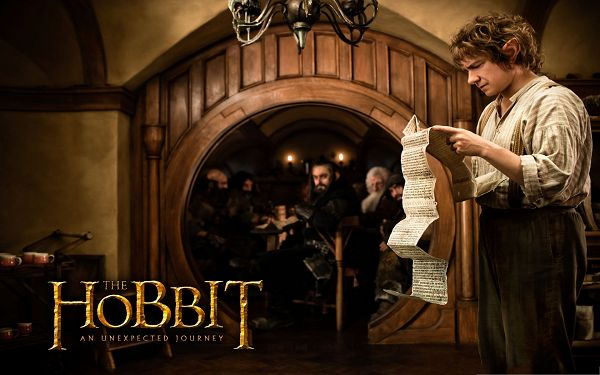 click to free download the wallpaper--3D Movies Poster, Martin Freeman as Bilbo Baggins, Reading Old Long Letter