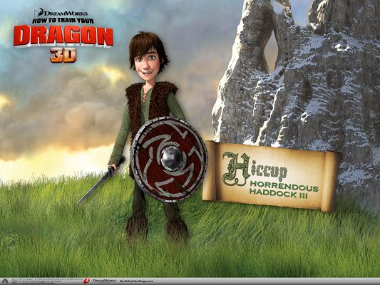 click to free download the wallpaper--3D Movies Wallpaper, Hiccup Horrendous Haddock III, a Smiling Boy in Shield