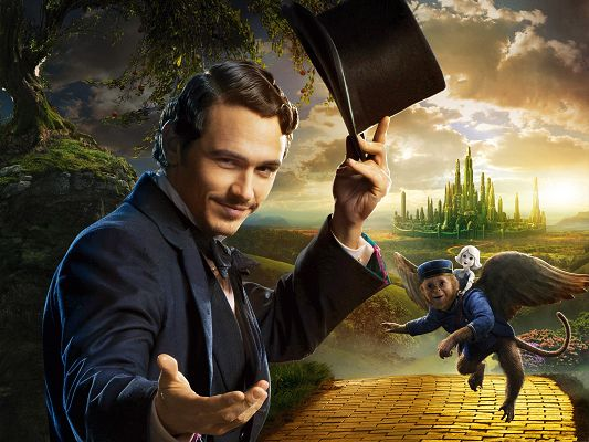 click to free download the wallpaper--3D Movies Wallpaper, Oz the Great and Powerful, Oz James Franco in Welcoming Pose