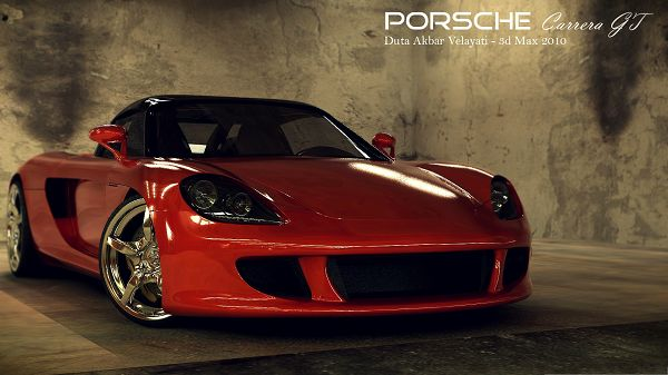 click to free download the wallpaper--3D Porsche Carrera, Red Super Car Turning a Corner, Amazing Look