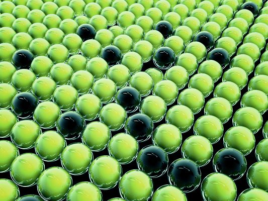 click to free download the wallpaper--3D Spheres Wallpaper, Black Balls Among Green Ones, They Are the Most Attractive, the Main Focus