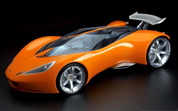click to free download the wallpaper--3D Super Cars, Orange Car on Black Background, Incredible Look