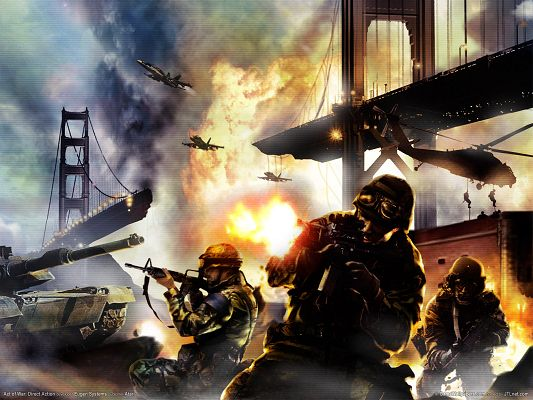 click to free download the wallpaper--3D War Images, a Severe War Breaking Out, Fire and Explosion Are Everywhere