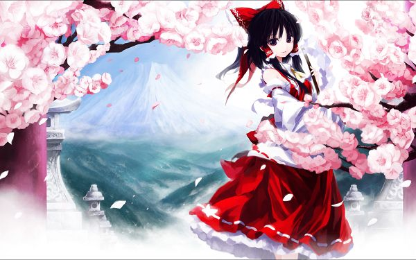 A Beautiful Scene is Presented by Hakurei Reimu, She is Surrounded by All Pink Flowers, What a Scene! - HD Action Game Wallpaper