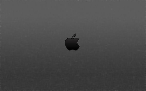 click to free download the wallpaper--A Black Apple Logo Combined with Gray Background, Crossed Lines Are at the Bottom, is Decent and Easy to Apply - HD Apple Wallpaper