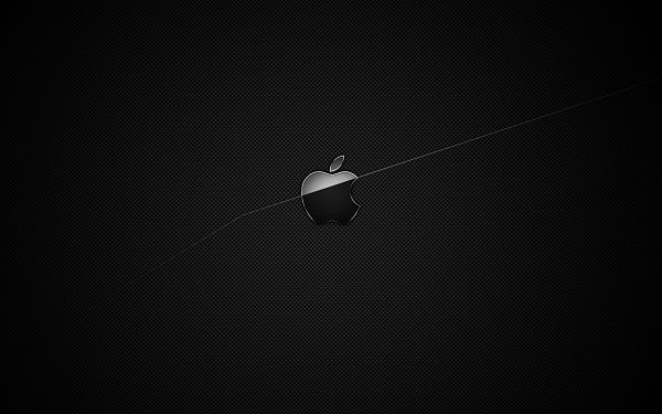 A Black Apple Symbol on Dark Black Background, Half Part Lighted up, a Quite Impressive Design - Apple Theme Wallpaper