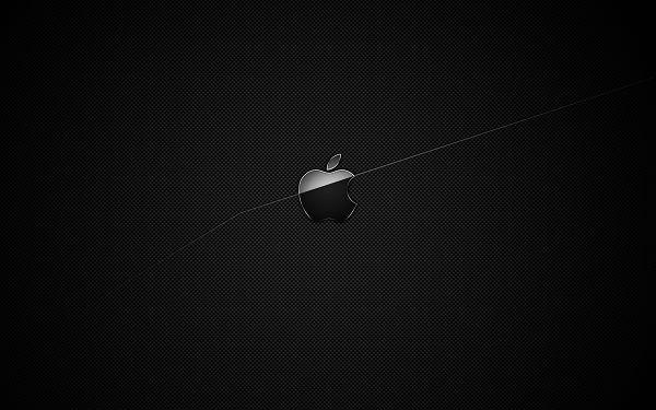 A Black Apple Symbol on Dark Black Background, Half Part Lighted up, a Quite Impressive Design - Apple Theme Wallpaper
