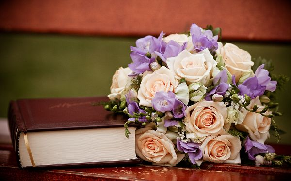 A Bouquet of Flower Next to a Thick Book, Book is Thus Smelling Good, Do Open and Read It More - HD Creative Wallpaper