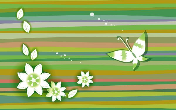 click to free download the wallpaper---A Butterfly, Flowers and Leaves on a Crossed Line Background, Things Are Clear, Easy and Simple - Cartoon Flowers Wallpaper