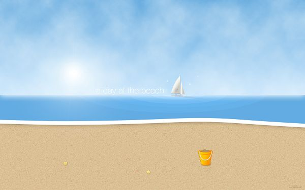 click to free download the wallpaper--A Day at the Beach, Lots of Activities Can be Done, a Wonderful World is Presented - Creative Cartoon Wallpaper