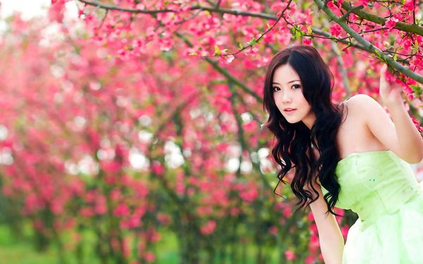 A Full Eye of Red Flowers, Yet the Girl in Green Dress is Still More Attractive, She is a Natural Beauty - HD Attractive Girls Wallpaper
