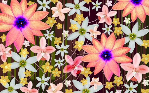 click to free download the wallpaper--A Full Screen of Colorful Flowers, All Dancing and Singing with the Melody, Quite Pleasant to Look at - Creative Wallpaper