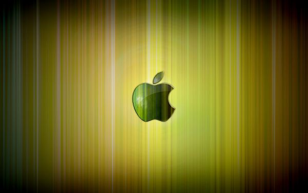 click to free download the wallpaper--A Green Apple Logo in the Central Part, Background is Bright and Shinning, Combining a Great Scene - HD Apple Wallpaper