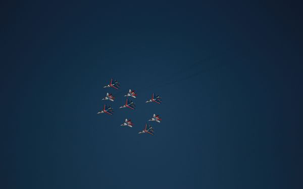 click to free download the wallpaper--A Group of Aeroplanes Putting on a Show, All of Them in Quite an Order, They Are Good-Looking and Enjoyable to Look at - HD Aeroplane Wallpaper