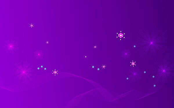 A Group of Colorful and Glowing Flowers Flying on Purple Background, is Indeed Good-Looking and Easy to Apply - Widescreen Flowery Background