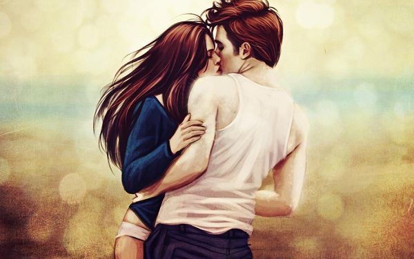 click to free download the wallpaper--A Hand-Drawn Picture of Twilight, Edward and Bella are Having a Kiss, Flying Hair, It is a Romantic and Moving Scene - TV & Movies Wallpaper