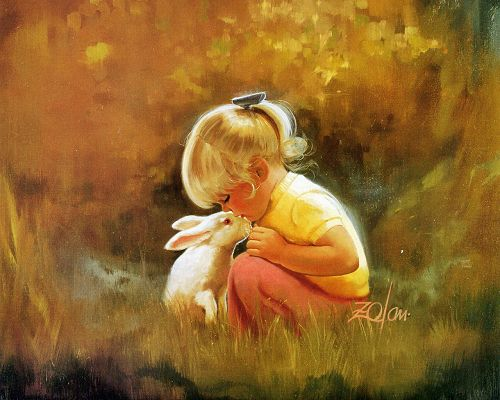 A Lovely Baby Girl and Her Obdient Pet, Kissing Each Other, the Scene is Warm and Cozy - Oil Painting Wallpaper