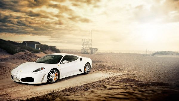 A Luxurious Sports Car beside Muddy Field, the Sky is Dark and Cloudy, Got to Drive Quickly Away - HD Computer Wallpaper