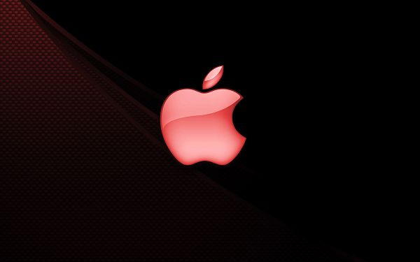 click to free download the wallpaper---A Red Apple is on Black Background, Both Colors Are Dark, a Great Fit for Computer and Any Other Digital Device - Apple Theme Wallpaper