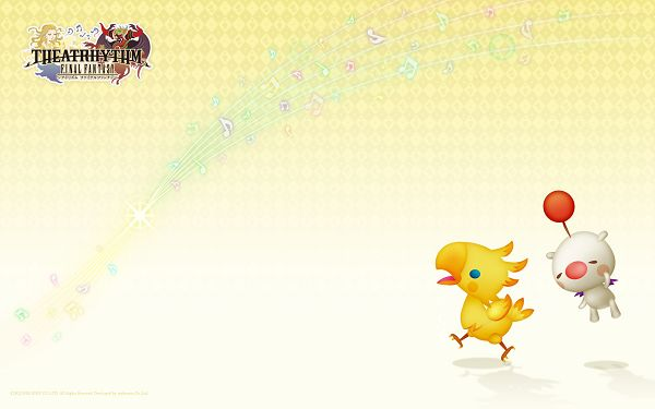 click to free download the wallpaper--A Running Chick Followed by a White Flying Pig, Bringing One Good and Relaxed Mood - Final Fantasy Wallpaper